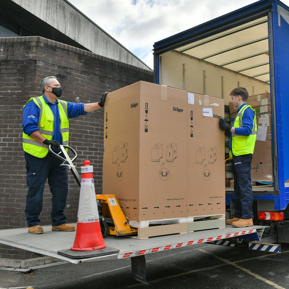 medical-equipment-unload-lorry